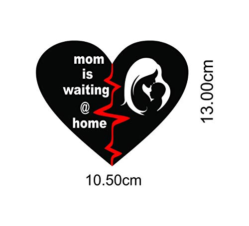ISEE 360® Mom is Waiting at Home Bike Stickers for Scooter Fascino and Activa and Royal Enfield Classic 350 500 Standard Back,Red,White Side L x H (10 cm x 13.50 cm)