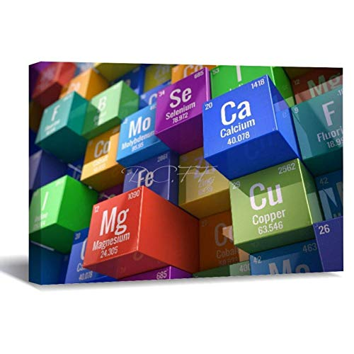 Scott397House Canvas Wall Art Printed, 3D Periodic Table Science Chemistry Ready to Hang Wall Art Wall Decor for Home Framed Wall Prints 40X50 In