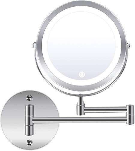 Espejo de maquillaje montado en la pared, 1 aumento de 10 aumentos, rotación de 360 grados, espejo de tocador con luz LED de doble...