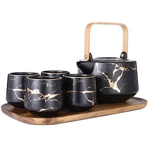 Marmo Tea Service Set da tè in ceramica Pot (40 once) con 4 pezzi tazze da tè (6,7 once) e vassoio di legno moderna teiera, tè tazze Set for casa e ufficio (Color : Nero)