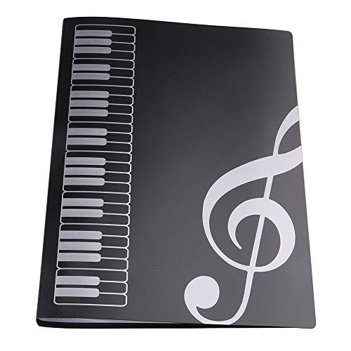 Ordner für Musikblattdateien Papierablage für Musikblattdateien Dokumentenhalter Leere Blattdateien Kunststoff A4 Größe 40 Taschen Schwarz