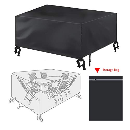 Garden Furniture Cover,Bigzzia Rattan Cube Set Cover 420D Oxford fabric Patio Table Cover Windproof Anti-UV with 4 Fixing Buckles For Tables Chairs 170 * 94 * 70cm