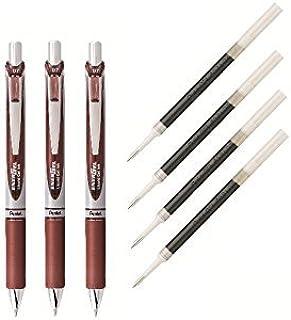 Pentel EnerGel Deluxe RTX Liquid Gel Ink Pen Set Kit, Pack of 3 with 4 Refills (Brown - 0.7mm)