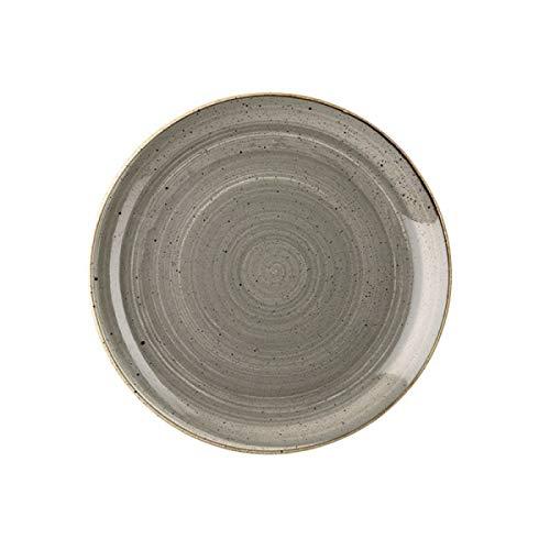 Visiodirect Lot de 12 Assiettes Plates Stonecast Grise - 26 cm