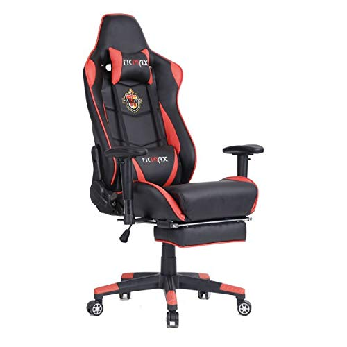 Ficmax Sedia da Gioco reclinabile poggiapiedi, Supporto Lombare massaggiante e Cuscino poggiatesta Sedia da Ufficio ergonomica in Stile Racing. Colore: Black/Red