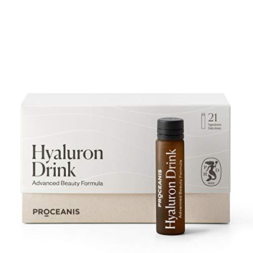 Original Hyaluron Beauty Drink I Hochdosiert I Vegan I Proceanis Hyaluronsäure Shot zum Trinken - Natürliche Schönheit von Innen (3 Wochen Kur)