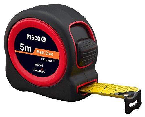 FISCO AW5M/D Flexómetro Clase II con caja de ABS recubierta de goma (5 m x 25 mm), negro