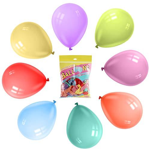 Heatigo 100 Stück latexfarbene Luftballons, pastellfarbene Macaron-Luftballons für Geburtstage, Hochzeiten, Valentinstag und Verschiedene Partys (Macaron Bunt-100 Stück)