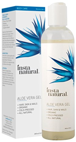 Aloe Vera Gel - Pure & Organic Moisturizing Treatment for Men & Women - For Sunburn, Breakouts, Razor Bumps & More Relief - Natural After Sun, Insect Bites & Scratches Skin Care - InstaNatural - 8 oz