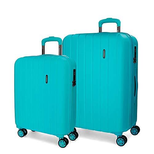 Movom Wood Juego de maletas Verde 55/70 cms Rígida ABS Cierre TSA 119L 4 Ruedas dobles Equipaje de Mano