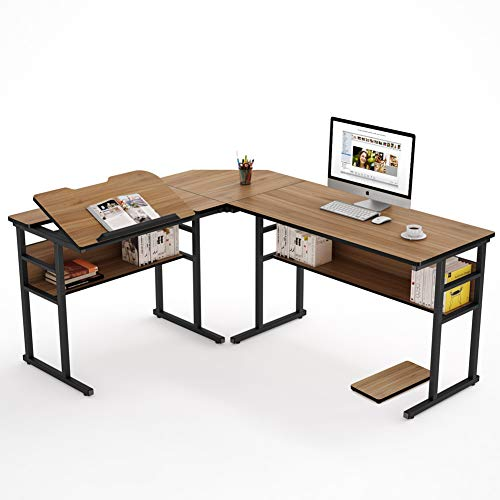 corner table for offices Tribesigns Modern L-Shaped Desk with Bookshelf, 67 inch Double Corner Computer Office Desk Workstation Drafting Drawing Table with Tiltable Tabletop for Home Office (Oak)
