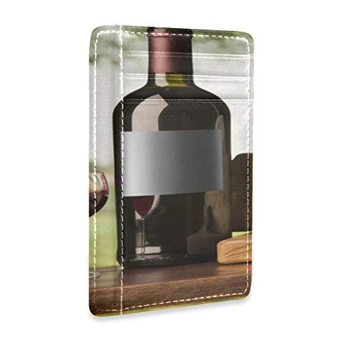 Cartera de Cuero para Hombre Botella de Vino y UVA en la Mesa Cartera de identificación Tarjetero de Cuero para Hombres Mujer con Clip para Dinero