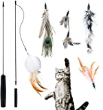FURIENIDE Interaktives Katzenspielzeug Feder, Katzenspielzeug Einziehbare...
