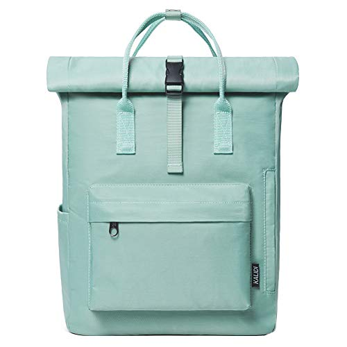 KALIDI Rucksack Damen Rucksack Herren Tagesrucksack mit Laptopfach, Unisex Modern Rolltop Rucksack Daypack, Wasserdichter Schulrucksack,Lässiger Backpack Schule Freizeit Uni Arbeit (Mini grün)
