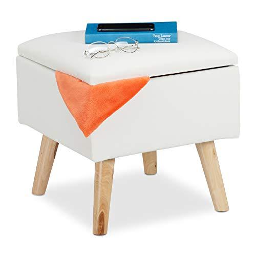 Relaxdays Sitzhocker mit Stauraum, aus Kunstleder, HxBxT: 40 x 40 x 40 cm, mit Deckel, Sitzwürfel gepolstert, weiß, 1 Stück