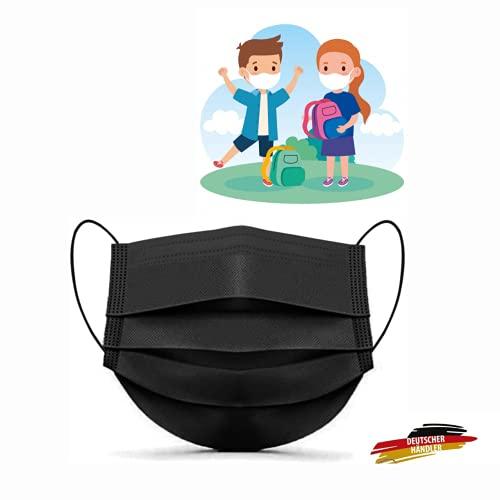 MASSIMO 007 50 Stück Schwarz Medizinischer Mundschutz für Kinder Medizinische Kindermaske EN14683 Type II BFE ≥ 98% Einwegmasken Kinder OP Masken