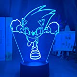 Animales de dibujos animados Lámpara de ilusión 3d Sonic The Hedgehog Luz de noche colorida para la decoración del hogar Cool Kids Child Bedroom Led Sonic Figure