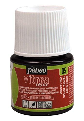 Pebeo 45 ml Vitrea 160-glansig glasfärg flaska, indisk röd