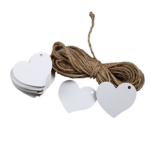 iTemer 100 Pezzi Forma di Cuore Bianco Etichette Regali Etichette Carta Appendere etichette biglietti carta da matrimonio Etichette 4x4 cm (Senza spago intrecciato)