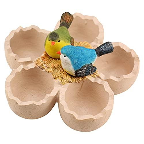 Fuyamp Macetas para suculentas de pájaros, mini maceta de resina para paisajismo, pájaros y nido de amor con forma de cáscara de huevo para plantas suculentas decoración del hogar (color multicolor)