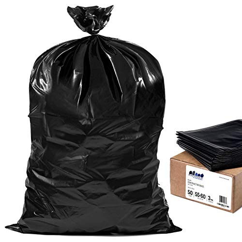 """Plasticplace Contractor Trash Bags 55-60 Gallon │ 3.0 Mil │ Black Heavy Duty Garbage Bag │ 38"""" X 58"""" (50Count)"""