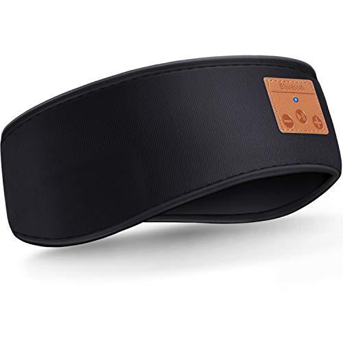 Schlafen Stirnband Verbessertes Bluetooth Stirnband, Kabellose Sport Stirnband Kopfhörer, Winter Stirnband Ohrwärmer, Musik Schlafen Stirnband für Seitenschläfer, Training, Joggen, Yoga (Schwarz)