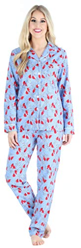 PajamaMania Women's Cotton Flannel Long Sleeve Button-Down Pajamas PJ Set, Cardinals, Medium