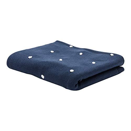 Fillikid Couverture tricotée 80x100 cm couverture douce couverture bébé, bleu foncé/blanc