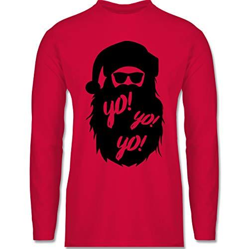 Weihnachten & Silvester - Yo Santa - 3XL - Rot - zipfelmütze Herren - BCTU005 - Herren Langarmshirt