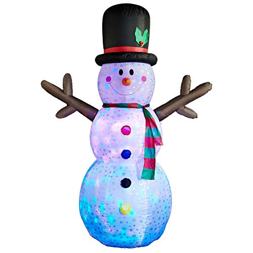 SUPERJARE 8 FT Christmas Inflatable Snowman, Flashing Lights Christmas Decoration, Snowman with Fan and Anchor Ropes, Animated for Yard Party Lawn, Indoor & Outdoor