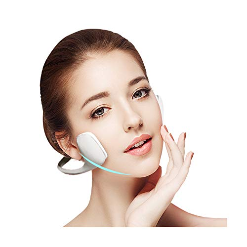 EMS Eléctrico Artefacto de Estiramiento Facial de Belleza, Instrumento Facial Inteligente Versión de Botón Básica Masajeador Facial de Barbilla Inteligente V Face para Hombres Mujeres Regalo,Blanco
