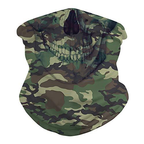 Camouflage Face Mask Bandanas,Sun UV Protection Multicam Neck Gaiter Face Mask Skull Military Bandana Balaclava Cover Scarf