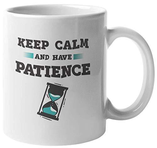 330ml Tazas de té Tazas para espresso Mantenga calma Tenga paciencia Motivacional Taza bebida café Regalo Vajilla de Agua/Leche para Hogar,Oficina