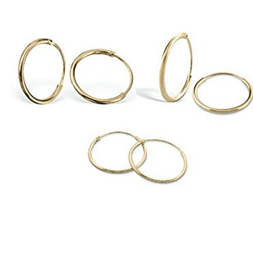 Silverline Jewelry - 3 Pairs 925 Sterling Silver Small Endless Hoop Earrings for Cartilage/Nose/Lips, 8mm 10mm 12mm