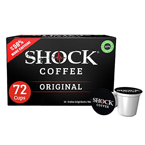 Shock Coffee Single Serve Cups. Up to 50% more Caffeine than Regular Coffee. 72 count - Compatible with Keurig K-Cup Brewers 2.0
