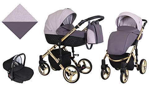 Kunert cochecito de bebé TIARO PREMIUM silla de paseo silla de coche asiento de bebé juego completo 3 en 1 (Violeta con brezo, Color del marco: Oro, 3en1)