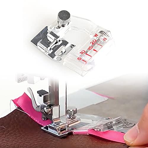 Prensatelas para máquina de coser con cinta distintiva, ajustable, se adapta a todos los tipos de vástago bajo a presión, Singer, Brother y más. El rango ajustable es de 5 mm a 20 mm.