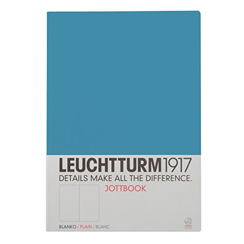 LEUCHTTURM1917 355973 Jottbook A4 (210x297), 60 nummerierte Seiten, 16 Blatt perforiert, blanko, Nordic Blue