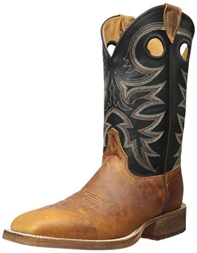 "Justin Boots Men's 11"" Bent Rail, Tobacco Cowhide/Black Spiral, 10 D US"