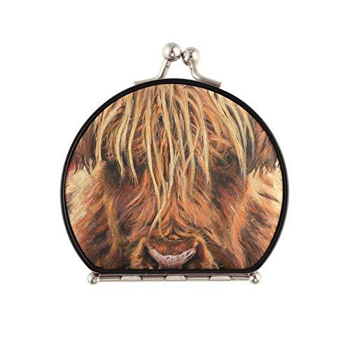 Miroir Compact Portable Miroir de Maquillage de Voyage Pliant grossissement 1X / 2X pour Femmes Hommes, Vache Highland
