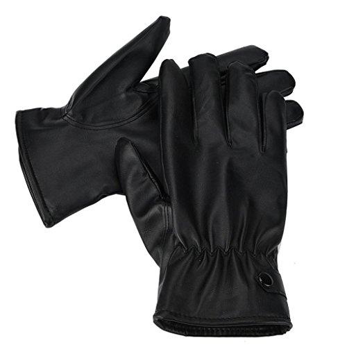 Lenfesh Mens Fashion chaud en cuir Cachemire hiver de conduite gants imperméables
