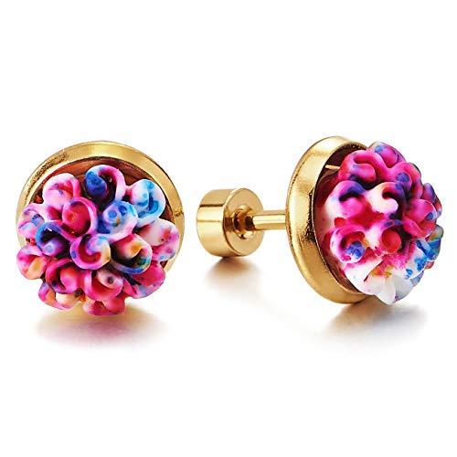 Coloridos Blumen Ramo de Flores Pendientes de Mujer, Color Oro Acero Inoxidable, Schraube Wieder, Hermoso, 2 Piezas