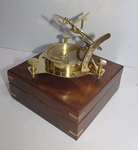 Captain Brass Sundial Compass with Hardwood Wooden Box