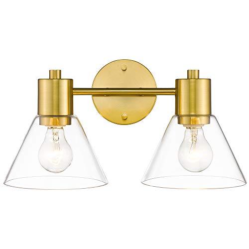 Gold Bathroom Vanity Light Fixtures, LMS 2 Light Bathroom Light Fixtures with White Glass Shade, LMS-100