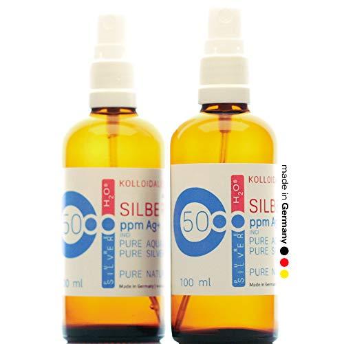 PureSilverH2O 200ml Plata coloidal 2 x Pulverizador/Spray 100ml/50ppm - Plata coloidal - 99,99% de Plata Pura Made in Germany