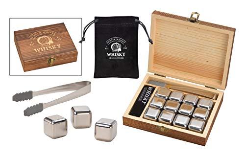 WOMA 12 Whisky Steine Edelstahl inkl. Zange & Samtbeutel in Holz Geschenkbox - Edelstahl Eiswürfel wiederverwendbar, geschmacksneutral & Kühlung ohne Verwässern - Für Whiskey, Wodka, Gin, Wein & Mehr