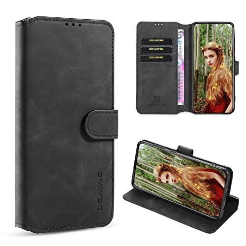xinyunew Samsung Galaxy M20 Hülle, 360 Grad Handyhülle + Panzerglas Premium Handy Schutzhülle Leder Wallet Tasche Flip Brieftasche Etui Schale (Schwarz)