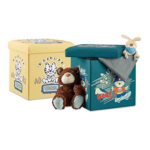 Relaxdays 2 TLG Sitzhocker Set für Kinder, faltbar, mit Stauraum, Aufbewahrungsbox mit Deckel, HxBxT 38 x 38 x 38 cm, Bär u. Tiger
