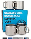 Stainless Steel Espresso Cups: Set of 4 Double Wall Insulated 3 Ounce Small Metal Cups with Handle, Shatterproof, Demitasse, Keeps Espresso Hot