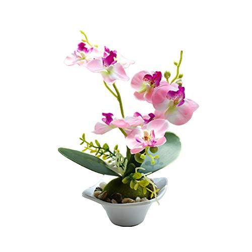 fuchsiaan Bonsái - Flores artificiales con orquídea y maceta para arreglos florales, centros de mesa, hogar, boda, festividad, porche, decoración de ventana, color rosa